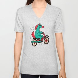Cool Cartoon Horse Bicycle Unisex V-Neck