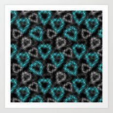 Broken heart . Black and turquoise pattern . Art Print