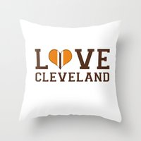 nfl Throw Pillows featuring LUV Cleveland by C. Wie Design