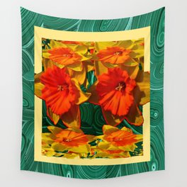 Green Malachite Patterns  & Dafflodils Still Life Wall Tapestry