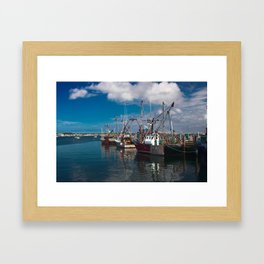 Fishing boats in Province town harbor Framed Art Print