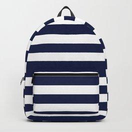 Navy Blue Nautical Stripe H Minimal Backpack