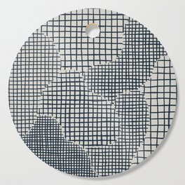 Dark Blue Grid Pattern Cutting Board