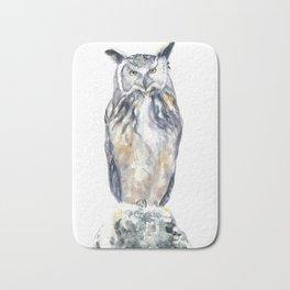 A Serious Owl Bath Mat