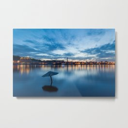 Evening cityscape with river and umbrella Metal Print