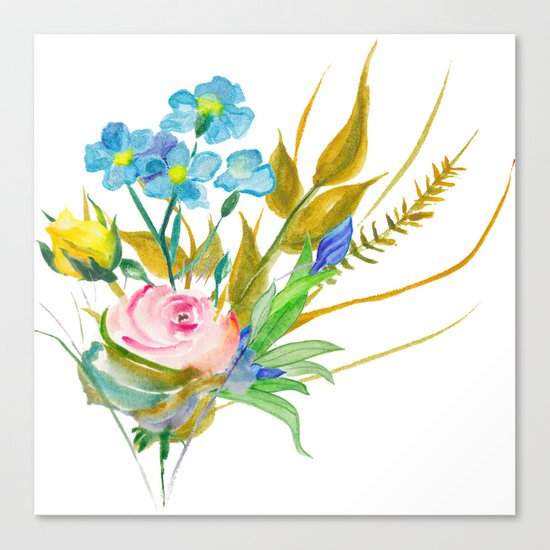 Beautiful Watercolor of Bouquet of Flowers Canvas Print