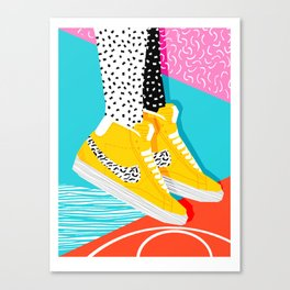 Kid You Not - memphis retro shoes fashion throwback 80s style trends minimalist art neon Canvas Print