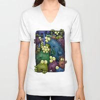 aliens V-neck T-shirts featuring Crowded Aliens by Billy Allison