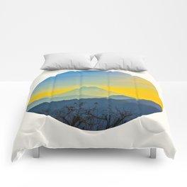 Mid Century Modern Round Circle Photo Yellow Blue Mount Fuji Sunset Watercolor Effect Landscape Comforters