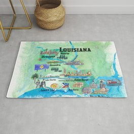 USA Louisiana State Travel Poster Map with Tourist Highlights Rug