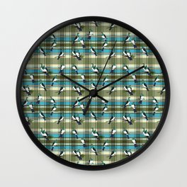 Kereru on green and turquoise plaid Wall Clock