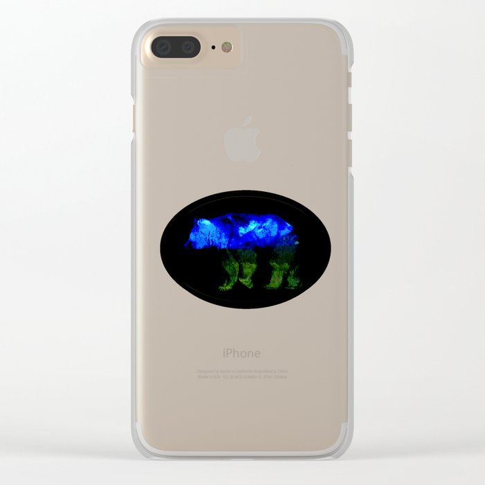 Grizzly in the Shadows Clear iPhone Case