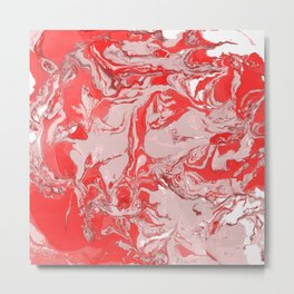 Red and white Marble texture acrylic Liquid paint art Metal Print