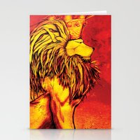 lion king Stationery Cards featuring Lion King by RICHMOND ART STUDIO