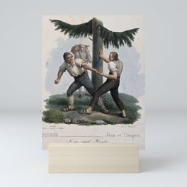 Two men are testing their strength against one another. Coloured lithograph by Zninger after M. Föhn Mini Art Print