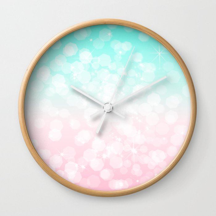 Turquoise and Pink Bokeh Wall Clock