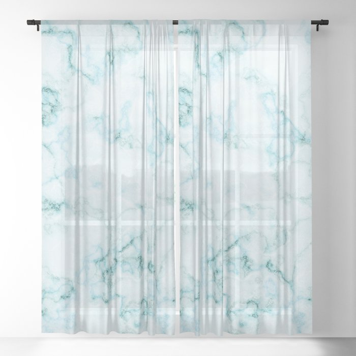 Aqua marine and white faux marble Sheer Curtain