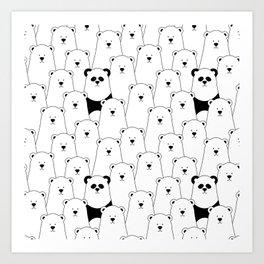 Polar bear and panda cartoon Art Print