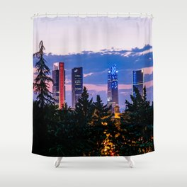 Cityscape of financial district of Madrid at sunset Shower Curtain