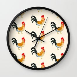 Roosters - Watercolor Print  Wall Clock