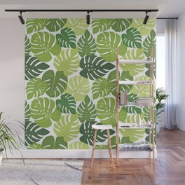 Monstera Leaves Pattern (white background) Wall Mural