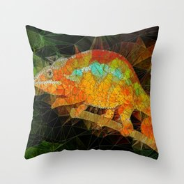 welcome to the jungle, abstract chameleon Throw Pillow