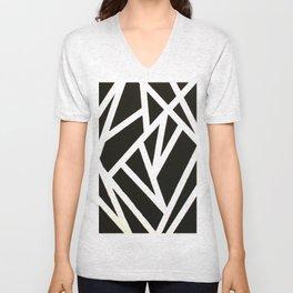 Abstract Black & White Unisex V-Neck