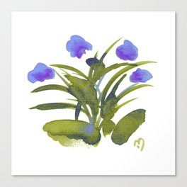 Atom Flowers #34 in purple and green Canvas Print