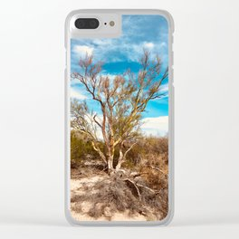 Trees in a desert wash Clear iPhone Case