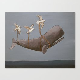 Whale with Friends Series - Seagulls Canvas Print
