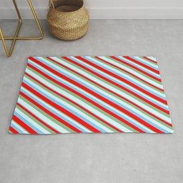 Light Sky Blue, Red, Dark Sea Green & Light Cyan Colored Striped Pattern Rug