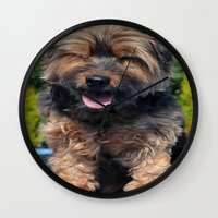 yorkie Wall Clocks featuring Yorkie by Sammycrafts