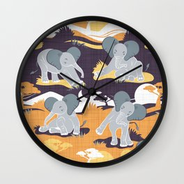 Baby African elephants joy night and day // yellow mustard Wall Clock