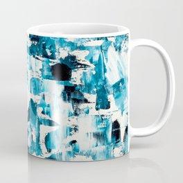 Navy blue ombre abstract original acrylic brushstrokes paint Coffee Mug