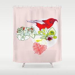 Red Ohia Lehua and Iwi Bird Shower Curtain