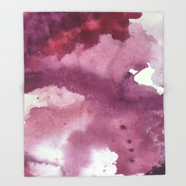 Blushing [2]: a minimal abstract watercolor and ink piece in shades of purple and red Throw Blanket
