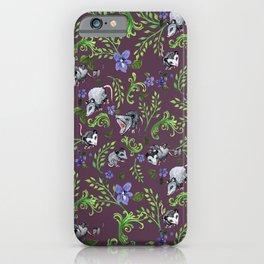 Opossum, Fern, & Violet Print iPhone Case