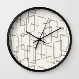 Reverse Medium Warm Gray Retro Geometric Pattern Wall Clock
