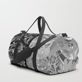 Metallic Silver Vintage Damasks Pattern Duffle Bag