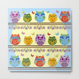 Chilling Summer owls Metal Print