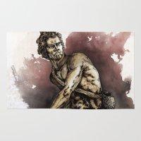 david olenick Area & Throw Rugs featuring David by maxandr