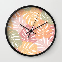 Monstera leaves Colorful Jungle leaves Palm leaves Tropical art Wall Clock