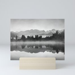 Mountains with trees reflecting in lake - black and white fine art print Mini Art Print