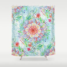 Messy Boho Floral in Rainbow Hues Shower Curtain