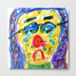 Girl with swimming goggles Metal Print