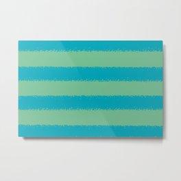 Blue-green Green Minimal Sponge Stripe Pattern 2021 Color of the Year AI Aqua 098-59-30 Metal Print