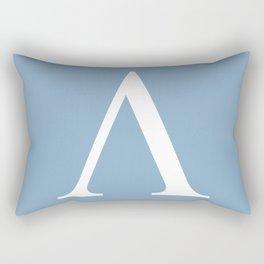Greek letter lambda sign on placid blue background Rectangular Pillow