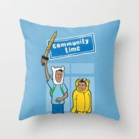 community Throw Pillows featuring Community Time! by powerpig
