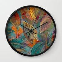 autumn Wall Clocks featuring Autumn Pattern by Klara Acel