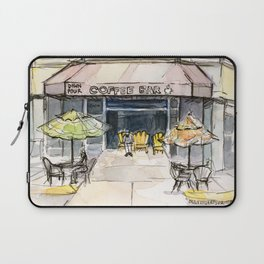 Coffee Shop Art Urban City Watercolor Laptop Sleeve